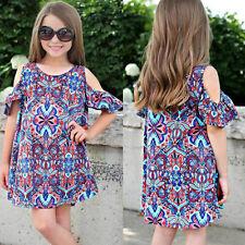 Kids Toddler Baby Girl Summer off Shoulder Bohemian Dress Party Casual Beachwear 2-3 Years