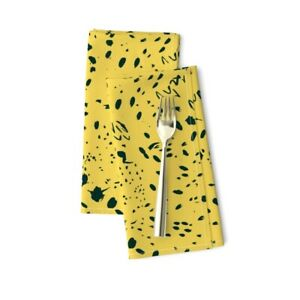 Ink Splatters On Yellow Abstract Cotton Dinner Napkins by Roostery Set of 2