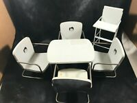 Vintage White Aluminum Toy Doll Kitchen Table Chairs Highchair
