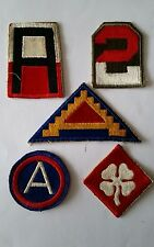 Lot de 5 Patches US 1st 2nd 3rd 4th 7th Army cut Edge WW2 - 100% ORIGINAL