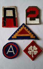 Lot de 5 Patches US 1st 2nd 3rd 4th 7th Army cut Edge WW2 - 100% ORIGINAL