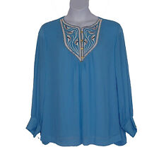 Bob Mackie Crinkle Chiffon Embroidered Blue Spring Top Womens Plus Size 3X