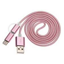 2 in 1 Micro USB & USB-C Charge Sync Cable Rose Gold