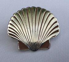 Metal Enamel Pin Badge Brooch Sea Shell Sea Shells Ocean Beach Silver Chrome