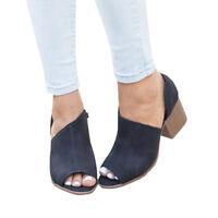 Women Peep Toes Middle Heel Short Ankle Boots Zip Sandals Pumps Shoes Plus Size