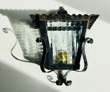 Spanish Revival Wrought Iron Antique Vintage Porch Garden Lantern Light Black
