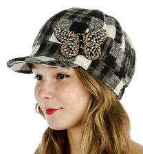 Knit Plaid Cabbie/Newsboy Hat Women's Fall/Winter Beaded Butterfly Black/Gray