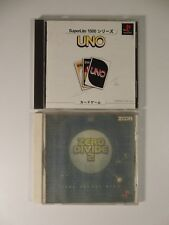 Lot: 2 Japanese PSX, PS1 Games: Uno, Zero Divide 2,Tested Good,Japan JP Releases