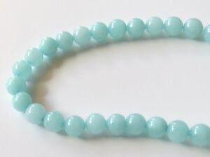 50pcs 6mm Round Gemstone Beads - Malaysian Jade - Opaque Pale Aqua