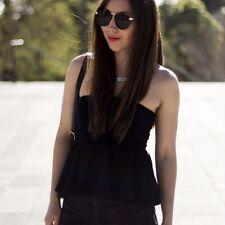 NEW Zara Peplum Satin Strapless Top Blouse in Black size S