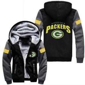 Green Bay Packers Football fan's Thicken Hoodie winter Hooded Coat Warm Jacket