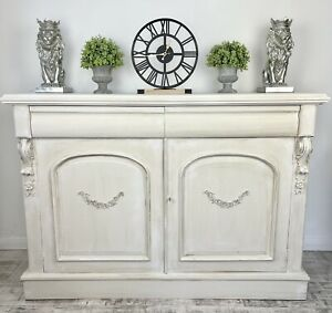 Beautiful Hand Painted Rustic White Vintage Sideboard Dresser Cabinet French