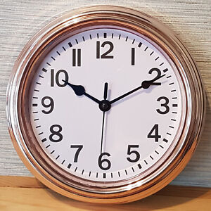 Small 22cm Rose Gold Copper Wall Clock Analogue Vintage Style Kitchen Home Decor