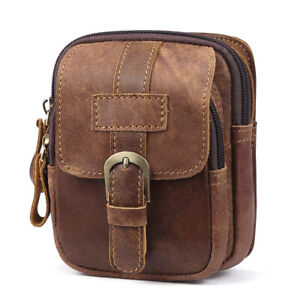 Mens Genuine Leather Small Belt Waist Bag Mobile Phone Holder Pouch Fanny Pack