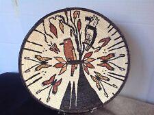 Vtg. Embera Wounaan Tribe Panama Hand Woven Shallow Basket Birds Butterflies
