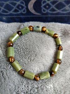 Nephrite jade and tigers eye crystal healing bracelet