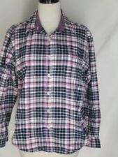 Cruel Girl Western Rodeo Horse Show Navy Pink White Plaid Shirt L