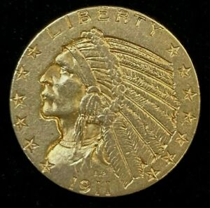 1911 $5 Indian Head Gold Coin.! Uncertified.!
