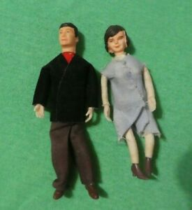 Vintage German CaCo Dollhouse Doll - Vintage CaCo Brunette Man & Woman Doll