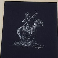 Original scratchboard Indian warrior on horse painting Navajo SAMMY SANDOVAL