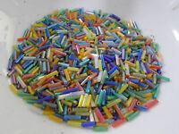 BUGLE BEADS 6mm Assorted Mix Iridescent AB 50g Glass Tube Long Hollow Jewellery