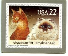 Abyssinian Cat-Himalayan Kitty Vintage 1987 Usps Stamp Jigsaw Puzzle Postcard