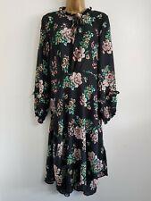 Ex Evans Plus Size 14-32 Black Green Floral Printed Spotted Midi Shirt Dress