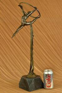 Rare Original Art Deco Sport Gymnast Bronze Sculpture Statue Marble Figurine LRG