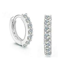 Fashion 925 Silver Hoop Earrings for Women White Sapphire Jewelry Gift A Pair