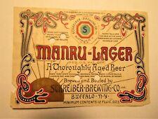 1930's Manru-lager beer label permit U-245 Buffalo, New York