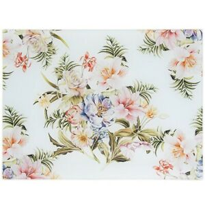 New Lily Rose Floral Glass Cutting Board Worktop Work Surface Saver