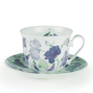 Roy Kirkham Sweet Pea Large 450ml Breakfast Cup & Saucer Lilac Purple Bone China