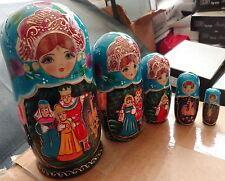 "fairy tales Tsar - Sultan Hand painted Russian Nesting Doll 5 Pcs 7"""