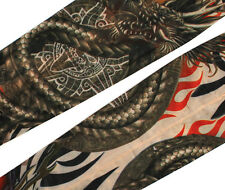 2PCS Cooling Tattoo Sleeve Arm Cover Sun protection Fake Spandex Stocking Dragon