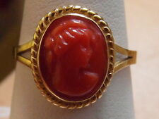 610E LADIES VINTAGE 18CT GOLD RED CAMEO RING SIZE L