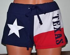 WOMEN'S ATHLETIC TEXAS TX FLAG MINI DRAWSTRING BOOTY SHORTS  - size Medium