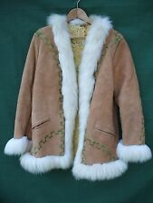 1970's Afghan Embroidered Shear ling Sheepskin Hippie  SUEDE  Coat jacket