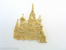 St. Basil's Cathedral Pin Bright Gold Plated Excellent Detail