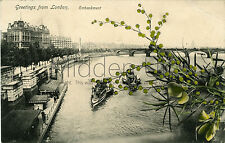 RA263 Early POSTCARD - The Embankment and Houseboats - London - Posted 1905