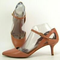 Enzo Angiolini Galan Heels Point Toe Salmon Leather Ankle Strap Size 8M Womens