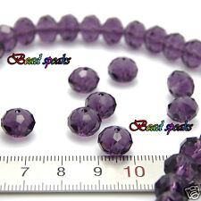 30 pcs 10×8 mm Violet Purple Faceted Rondelle Crystal Glass Beads CC308