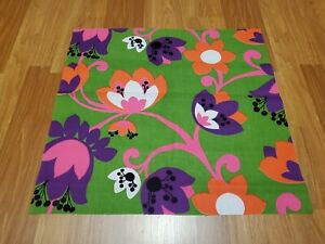 Awesome RARE Vintage Mid Century retro 70s bright grn pink org floral fabric!