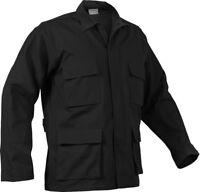 Mens Black Solid Long Sleeve Military BDU Shirt Coat Uniform Army Fatigues