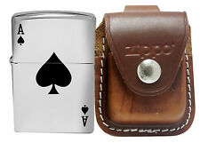 Zippo Lighter Lucky Ace + Brown leather Pouch Clip