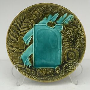 """Antique EMAUX OMBRANTS Majolica Pottery Plate Villeroy Boch Schramberg 7 3/4"""""""