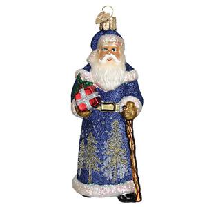 Old World Christmas GLISTENING MIDNIGHT SANTA (40248)N Glass Ornament w/Box