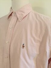 Polo Ralph Lauren 17 34 Button Front Pink Stripe Yarmouth Men's L/S Shirt -C Dtl