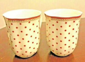 SET OF 2 GRACE'S TEAWARE SCALLOP RIM POLKA DOT RED & WHITE W GOLD MUGS_ NEW