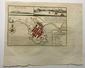 MONTEVIDEO URUGUAY 1750 NICOLAS BELLIN DETAILED ANTIQUE PLAN 18e CENTURY