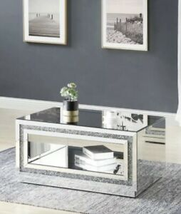 High Gloss Coffee Table With Storage Space Mirrored Furniture Crushed Diamond